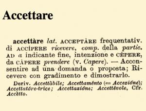 etimologia accettare